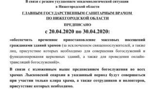 Продление карантинных мер в храма благочиния до 30 апреля 2020 г.